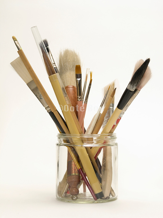 assortment of various paint and calligraphy brushes