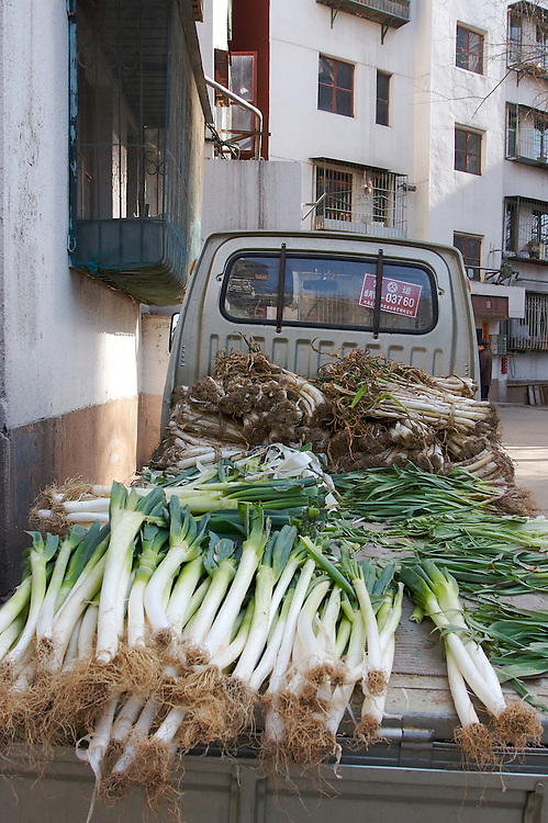 Scallions fill the back of a truck in the Yayuncun area of Chaoyang District in northern Beijing, China.