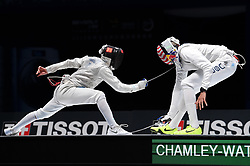 WUXI, July 27, 2018  Daniele Garozzo (L) of Italy fights with Miles Chamley-Watson of the US during the men's foil team final between Italy and the United States at the Fencing World Championships in Wuxi, east China's Jiangsu Province, July 27, 2018. Italy beat US 45-34 and claimed the title of the event. (Credit Image: © Li Bo/Xinhua via ZUMA Wire)