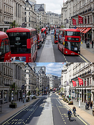 © Licensed to London News Pictures. 12/04/2021. London, UK. Paired images showing a busy Regent Street on Monday 12 April 2021 (TOP) after shops reopened, and the same location the day before, Sunday 11 April 2021 (BOTTOM), when shops were closed. Pubs, restaurants and non-essential shops reopened on Monday 12 April 2021 as England begins the second phase of 'unlocking' after months of lockdown. Photo credit: Rob Pinney/LNP