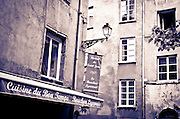 Restaurant and lamp in old town Vieux Lyon, France (UNESCO World Heritage Site)