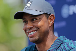 August 9, 2018 - St. Louis, Missouri, United States - Tiger Woods speaks to the media after the first round of the 100th PGA Championship at Bellerive Country Club. (Credit Image: © Debby Wong via ZUMA Wire)