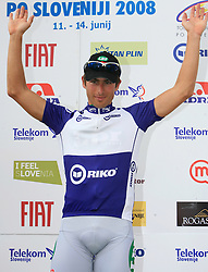 Winner Claudio Cucinotta  of Italy (LPR Brakes) at the podium n blue jersey as the best in points classification after 1st stage of the 15th Tour de Slovenie from Ljubljana to Postojna (161 km) , on June 11,2008, Slovenia. (Photo by Vid Ponikvar / Sportal Images)/ Sportida)