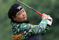June 16, 2018 - Belmont, Michigan, United States - Christina Kim of San Jose, California hits from the 5th tee in the rain during the third round of the Meijer LPGA Classic golf tournament at Blythefield Country Club in Belmont, MI, USA  Saturday, June 16, 2018. (Credit Image: © Amy Lemus/NurPhoto via ZUMA Press)