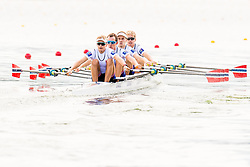 August 3, 2018 - Glasgow, UNITED KINGDOM - 180803 Didrik Wie-Soltvedt (bow), Oskar Sødal (2), Jens Holm (3) and Lars Benske (stroke) of Norway compete in the Lightweight Men's Rowing Quadruple Sculls test race during the European Championships on August 3, 2018 in Glasgow..Photo: Jon Olav Nesvold / BILDBYRÃ…N / kod JE / 160281 (Credit Image: © Jon Olav Nesvold/Bildbyran via ZUMA Press)