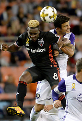 September 9, 2017 - Washington, DC, USA - 20170909 - D.C. United midfielder LLOYD SAM (8) and Orlando City FC midfielder SERVANDO CARRASCO (5) battle for a head ball in the second half at RFK Stadium in Washington. (Credit Image: © Chuck Myers via ZUMA Wire)