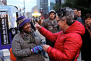 Great Chicago Fire Festival on Saturday, October 4, 2014. Selling hair clips at one of the booths in the Veteran's Memorial area.