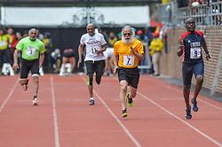 April 27, 2018 - Philadelphia, Pennsylvania, U.S - MOHAMED DIAA ABDELALL (3), CLARENCE A GREEN (11), DOMENIC STELLATO (7), and JOACHIM ACOLASTE (9) run in the Masters Men's 100m dash 70+ at Franklin Field in Philadelphia, Pennsylvania. (Credit Image: © Amy Sanderson via ZUMA Wire)