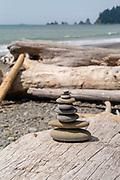 A small cairn (stack of rocks) at  Rialto Beach, Olympic National Park, Washington, USA.