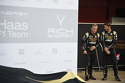 February 18, 2019 - Barcelona, Spain - Kevin Magnussen and Romain Grosjean during media presentation of new Rich Energy Haas F1 Team car, on February 18, 2019. (Credit Image: © Andrea Diodato/NurPhoto via ZUMA Press)