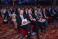 H.Lee Scott Jr, Walmart chief executive sits next to Michael T. Duke. Cameron Diaz with on her left Jeffrey Katzenberg at a conference in Beijing. 2010.