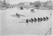 Henley on Thames, England, 1989 Henley Royal Regatta, River Thames, Henley Reach,  [© Peter Spurrier/Intersport Images], The Ladies Challenge Cup, NCRA, Harvard University, USA., The Harvard cox with the wooden stick in his right hand,