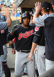May 31, 2018 - Minneapolis, MN, U.S. - MINNEAPOLIS, MN - MAY 31: Cleveland Indians Third base Jose Ramirez (11) celebrates his solo home run in the top of the 4th with teammates during a MLB game between the Minnesota Twins and Cleveland Indians on May 31, 2018 at Target Field in Minneapolis, MN. The Indians defeated the Twins 9-8.(Photo by Nick Wosika/Icon Sportswire) (Credit Image: © Nick Wosika/Icon SMI via ZUMA Press)