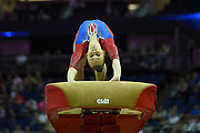 Angelina Melnikova of Russia (RUS) on the vault during the iPro Sport World Cup of Gymnastics 2017 at the O2 Arena, London, United Kingdom on 8 April 2017. Photo by Martin Cole.