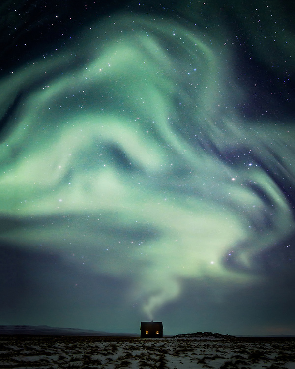 Aurora over the house in Iceland