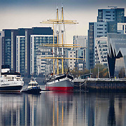 The historic steam ship returned to Glasgow for the first time since 1977. She will be berthed by the Science Centre in Glasgow for the winter after being towed from Greenock.  Picture Robert Perry 10th 2016<br /> <br /> Must credit photo to Robert Perry<br /> FEE PAYABLE FOR REPRO USE<br /> FEE PAYABLE FOR ALL INTERNET USE<br /> www.robertperry.co.uk<br /> NB -This image is not to be distributed without the prior consent of the copyright holder.<br /> in using this image you agree to abide by terms and conditions as stated in this caption.<br /> All monies payable to Robert Perry<br /> <br /> (PLEASE DO NOT REMOVE THIS CAPTION)<br /> This image is intended for Editorial use (e.g. news). Any commercial or promotional use requires additional clearance. <br /> Copyright 2014 All rights protected.<br /> first use only<br /> contact details<br /> Robert Perry     <br /> 07702 631 477<br /> robertperryphotos@gmail.com<br /> no internet usage without prior consent.         <br /> Robert Perry reserves the right to pursue unauthorised use of this image . If you violate my intellectual property you may be liable for  damages, loss of income, and profits you derive from the use of this image.