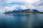 Steep mountains of Grytoya island, Troms county, northern Norway