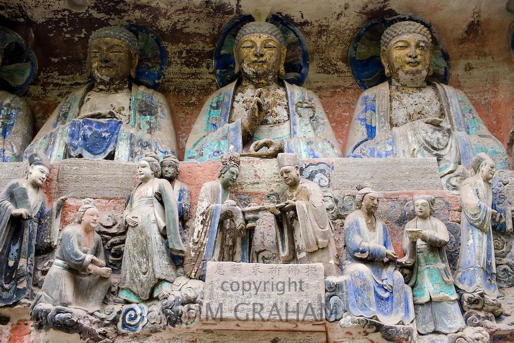 Dazu rock carvings buddhas and religious scene at Mount Baoding, Chongqing, China
