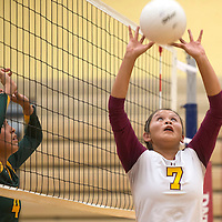 Rehoboth Lynx LeahRae Francisco (7) sets the ball for a teammate in the home game against Newcomb Thursday.