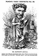 Matthew Arnold (1822-1888) British poet, critic and educationalist. Eldest son of Thomas Arnold, headmaster of Rugby School. Cartoon by Edward Linley Sambourne in the Fancy Portraits series from 'Punch' London 1881. Wood engraving