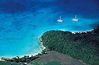 France, Département d'Outre mer de la Guadeloupe (DOM),  Marie Galante, Capesterre, Anse Canot, Vue aérienne // France, Guadeloupe, Capesterre, Marie Galante, Canot bay, Overview