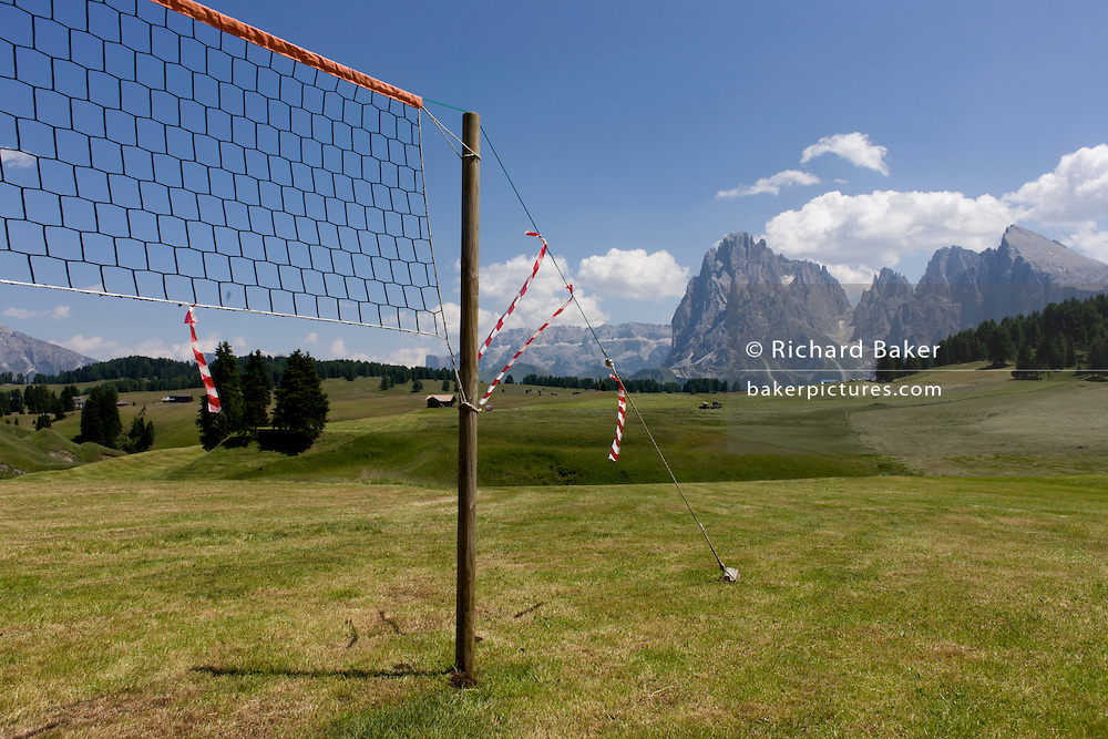 Netball net landscape on the Siusi plateau, above the South Tyrolean town of Ortisei-Sankt Ulrich in the Dolomites, Italy.