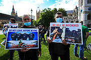 A group of Afghani interpreters living in Britain gathered outside Westminster Palace, Houses of Parliament in central London on Wednesday, Aug 18, 2021 - to call upon the British government and Northern armed allies to not abandon Afghanis who served foreign troops during 20 years of occupation. (VX Photo/ Vudi Xhymshiti)