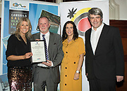 NO FEE PICTURES<br /> 25/1/19 David Gordon, winner of Best Northern Ireland, presented by Fiona Cunningham and Clare McCoy of Tourism Northern Ireland and Eoghan Corry, editor of Travel Extra pictured at the Travel Extra Travel Journalist of the Year 2018 at the Clayton Hotel, Ballsbridge in Dublin. Picture; Arthur Carron