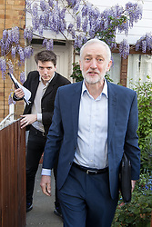 © Licensed to London News Pictures . 20/04/2017 . London , UK . JEREMY CORBYN leaves his home in Finsbury Park , accompanied by  , this morning (20th April 2017) . Jeremy Corbyn is due to set out Labour's election campaign manifesto at a speech today . Photo credit: Joel Goodman/LNP