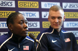 USA's Brittney Reese (left) and Sam Kendricks during a press conference on day one of the 2018 IAAF Indoor World Championships at The Arena Birmingham, Birmingham.