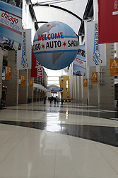 08  February 2013: McCormick Place main hall or great concourse with Chicago Auto Show signage hanging. Chicago Auto Show, Chicago Automobile Trade Association (CATA), McCormick Place, Chicago Illinois