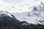 The Puyallup Glacier on Mount Rainier in winter as viewed from the Mount Tahoma Trails cross-country ski trail system.
