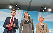 © Licensed to London News Pictures.01/03/2014. LONDON, UK (L-R) Ed Miliband, leader of the Labour Party, Harriet Harmen, Deputy leader of the Labour Party, Angela Eagle MP. The Labour Party Special conference today at Excel London on 1st March 2014.  Photo credit : Stephen Simpson/LNP