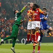 Galatasaray's Didier Drogba (C) during their UEFA Champions League Round of 16 First Leg match Galatasaray between Schalke 04 at the TT Arena Ali Sami Yen Spor Kompleksi in Istanbul, Turkey on Wednesday 20 February 2013. Photo by Aykut AKICI/TURKPIX