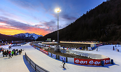 12.12.2015, Biathlonarena, Hochfilzen, AUT, BMW IBU Weltcup, im Bild Sonnenuntergang am Biathlonstadion Hochfilzen mit den umliegenden Bergen zur blauen Stunde // Sunset at the biathlon stadium Hochfilzen with the surrounding mountains at the blue hour during BMW IBU Biathlon World Cup at the Biathlonstadium in Hochfilzen, Austria on 2015/12/12. EXPA Pictures © 2015, PhotoCredit: EXPA/ JFK