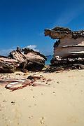 Thailand beach weathered sandstone rock formation