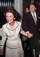 A 14.7 MG FILE FROM FILM OF:.Nancy Reagan guides her husband into a campaign event in Dixon, Illinois  Photo by Dennis Brack