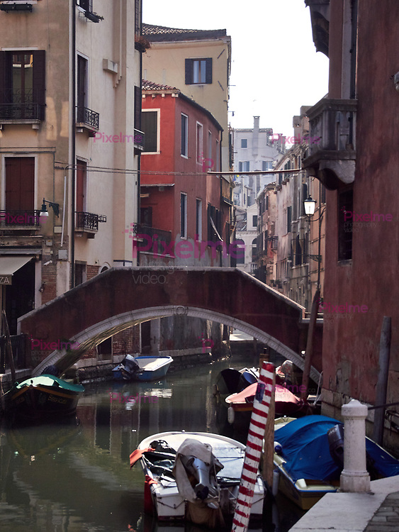 Venice, Italy - March 1, 2019 A view of one of the  Venice water channels during a sunny morning