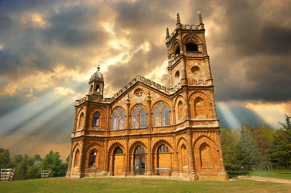 The Gothic Temple ( 1740's ) designed by James Gibbs in the English landscape gardens of Stowe, designed by Capability Brown. Buckingham, England