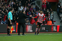 Football - 2016 / 2017 Premier League - Southampton vs. Middlesbrough<br /> <br /> Southampton's Sofiane Boufal shakes hands with Southampton Manager Claude Puel after scoring the first goal at St Mary's Stadium Southampton England<br /> <br /> COLORSPORT/SHAUN BOGGUST