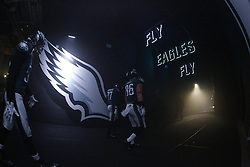 """Philadelphia Eagles tight end Zach Ertz #86 and teammates walk through the tunnel from the Eagles Locker room to the field with """"Fly Eagles Fly"""" and Eagles wings seen before the NFL Game between the Tampa Bay Buccaneers and the Philadelphia Eagles at Lincoln Financial Field in Philadelphia, PA on Sunday, November 22nd 2015. The Buccaneers won 45-17. (Brian Garfinkel/Philadelphia Eagles)"""