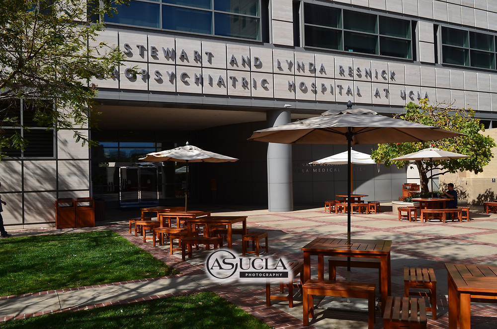 ASUCLA Photography Archive -  Exterior image of the Ronald Reagan UCLA Medical Center, UCLA Campus. University of California Los Angeles, Westwood, California.<br /> <br /> Copyright: ASUCLA