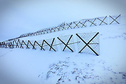 Sestriere, Italy - february 23, 2016: barriers anti avalanche barriere di protezione anti valanghe