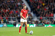 Dan Biggar of Wales prepares take a penalty kick. Rugby World Cup 2015 quarter final match, South Africa v Wales at Twickenham Stadium in London, England  on Saturday 17th October 2015.<br /> pic by  John Patrick Fletcher, Andrew Orchard sports photography.