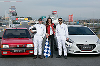 Lara Alvarez, Jesus Castro and Fernando Guillen Cuervo during the presentation of new Peugeot 208 GTI at Jarama Circuit in Madrid, Spain. January 20 2015. (ALTERPHOTOS/Carlos Dafonte)