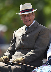 The Duke of Edinburgh attends the fifth day of the Royal Windsor Horse Show at Windsor Castle in Berkshire.