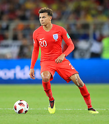 England's Dele Alli during the FIFA World Cup 2018, round of 16 match at the Spartak Stadium, Moscow. PRESS ASSOCIATION Photo. Picture date: Tuesday July 3, 2018. See PA story WORLDCUP England. Photo credit should read: Adam Davy/PA Wire. RESTRICTIONS: Editorial use only. No commercial use. No use with any unofficial 3rd party logos. No manipulation of images. No video emulation