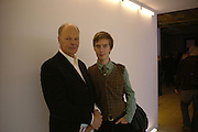 Alex Logsdail and his father Nicholas Logsdail ( who put on the first Dan Flavin exhibition in London in 1972 at the Lisson Gallery. ) Dan Flavin ' A Retrospective'  exhibition opening. Hayward Gallery.  18 January 2006.  ONE TIME USE ONLY - DO NOT ARCHIVE  © Copyright Photograph by Dafydd Jones 66 Stockwell Park Rd. London SW9 0DA Tel 020 7733 0108 www.dafjones.com