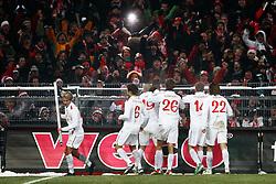 FUSSBALL: Deutschland, 1. Bundesliga, FC St. Pauli - FSV Mainz 05 2:4, Hamburg, 18.12.2010<br /> Jubel von Mainz 05<br /> © pixathlon *** Local Caption *** +++ www.hoch-zwei.net, copyright: HOCH ZWEI / Philipp Szyza +++