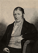 Eli Whitney (1765-1825) American inventor and manufacturer, born at Westborough, Massachusetts.  Credited with the invention of the cotton gin (1793) to separate cotton fibre from seeds and seedpods, dramatically increasing the amount of cotton that could be processed in a day and so revolutionising the American cotton growing industry.  Equally important was his introduction of interchangeable parts, an innovation which led to the growth of mass production in the nineteenth century and the production of cheap goods.  From 'The Century Magazine' (New York, 1887).